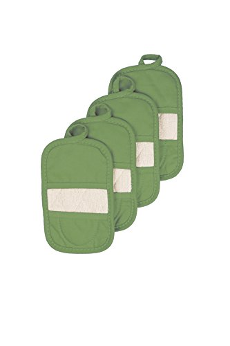 Ritz Royale Collection 100 Cotton Terry Cloth Ritz Mitz Dual-Function Pot Holder  Oven Mitt Set 4-Pack Cactus Green