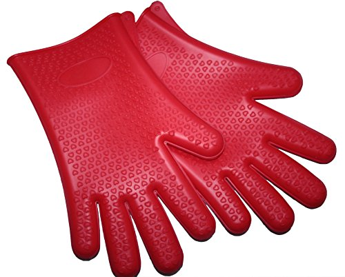 Red Silicone Gloves Heat Resistant Waterproof Oven Mitts for Cooking Grilling Barbecue Baking Smoking Frying