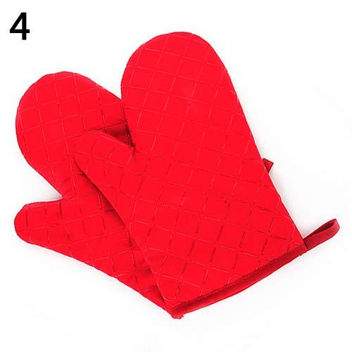 ywbtuechars Oven Glove Potholder Glove Kitchen Heat Resistant Cooking Baking Holder Non-Slip Oven Mitt Red