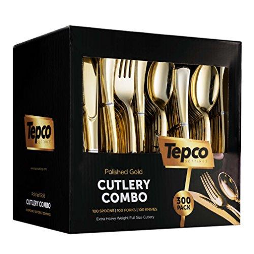 300 Gold Plastic Silverware Set - Plastic Gold Cutlery Set - Disposable Flatware Gold - 100 Gold Plastic Forks 100 Gold Plastic Spoons 100 Gold Cutlery Knives Heavy Duty Silverware for Party Bulk