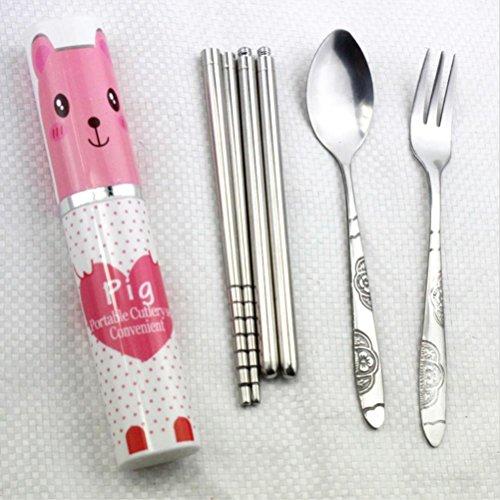 Eshylala 3-In-1 Stainless Steel Tableware Set Fork Spoon Chopsticks Travel Camping Stainless Steel Cutlery Box Case - Pink Pig