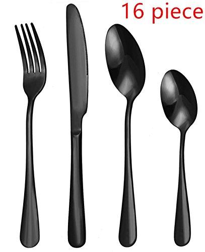 WOAIWO-Q Cutlery Set Stainless SteelFlatware SetTableware SetDinnerware Set for 4 Person Kitchen Silverware Cutlery Tableware Dinnerware Anti-rust Black Utensil Set Steak Knife Set