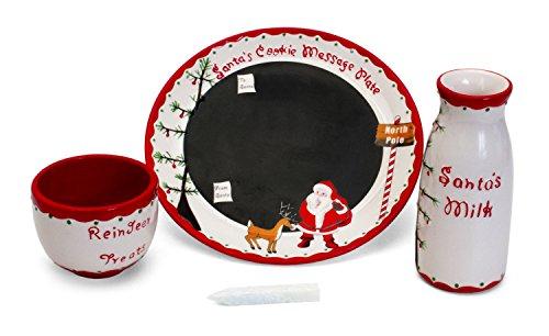 Child to Cherish Santas Message Plate Set Santa cookie plate Santa milk jar and reindeer treat bowl