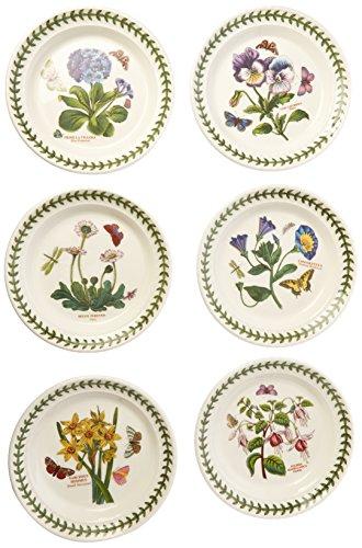 Portmeirion Botanic Garden Bread and Butter Plate Set of 6 Assorted Motifs