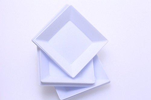 Exquisite Plastic Mini Square Appetizer Plates - 100 Ct Square plastic Dessert Plates - 295 Inch x 295 Inch White