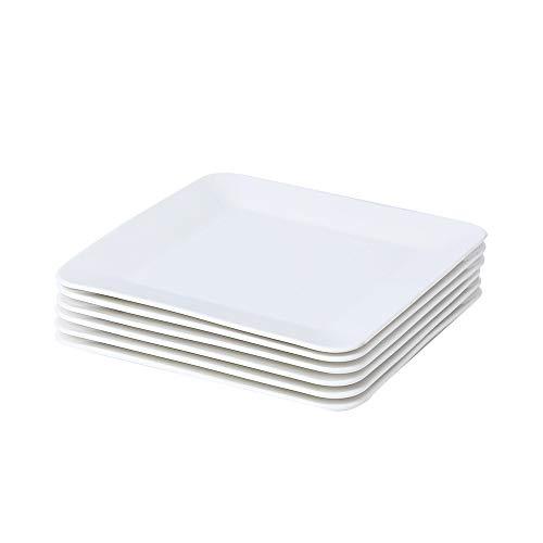 Porlien 105-inch Dinner Plates Set Pure White Square Service for 6