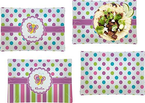 Polka Dot Butterfly Set of 4 Rectangular Dinner Plates Personalized