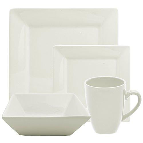 10 Strawberry Street 16 Piece  Square Dinnerware Set Cream White