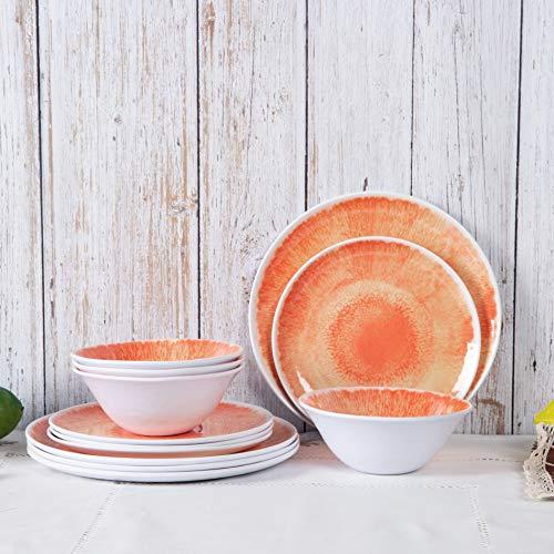 Dishes Dinnerware Set - 12pcs Melamine Dinnerware Plates Set for Everyday Use Dishwasher safe Service for 4 Orange