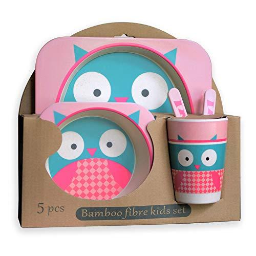 EXULTIMATE Kids Bamboo Dinnerware Plate Set of 5 Pink - Owl