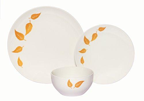 Melange Coupe 18-Piece Porcelain Dinnerware Set  Gold Leaves Collection  Service for 6  Microwave Dishwasher Oven Safe  Dinner Plate Salad Plate Soup Bowl 6 Each
