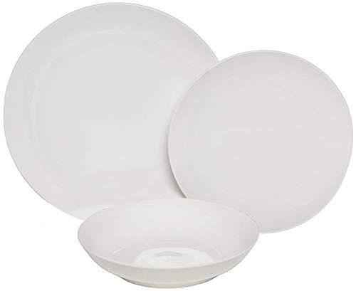 Melange Coupe 18-Piece Porcelain Dinnerware Set White  Service for 6  Microwave Dishwasher Oven Safe  Dinner Plate Salad Plate Soup Bowl 6 Each