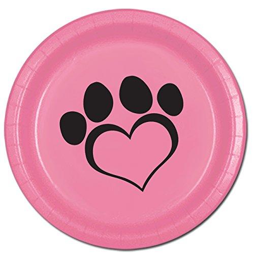Partypro Dog Love Pink Dinner Plate8PKG