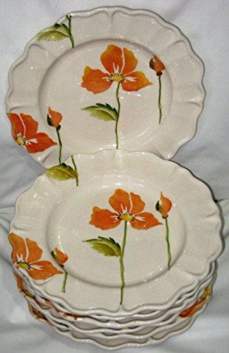 Loucarte Orange Poppy Flower 10 12 Inch Scalloped Edge Dinner Plate Set of 7