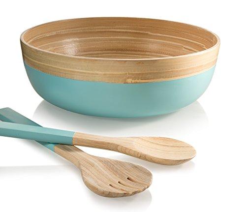 Francois et Mimi 3 Piece Bamboo Salad Bowl Set with Utensils12 Diameter Azure