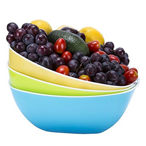Plastic BowlsWecye BPA Free Kicthen Fruit BowlSalad BowlMixing BowlsCereal BowlsCandy DishSet of 3 Large