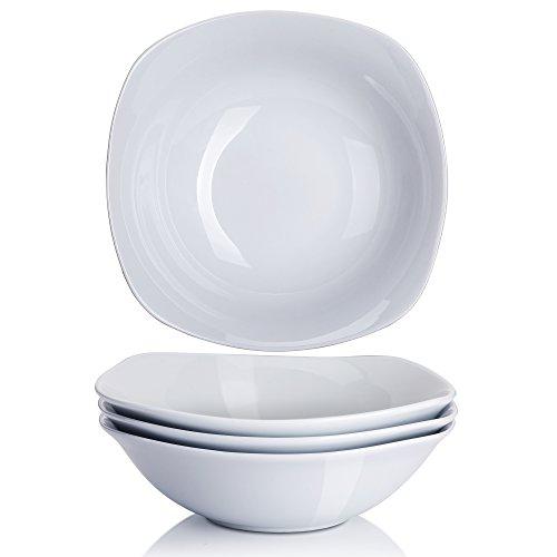 YHY 7-inch20OZ Porcelain CerealPasta Bowls White Salad Bowl Set Square Wide Set of 4