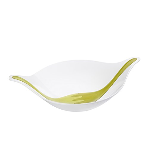 koziol LEAF L large plus Salad Bowl with servers 45 l  12 gal solid white with mustard greenolive green