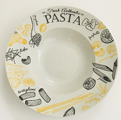Large White Round With Yellow Black Pasta Design  Pasta Serving Bowl  12 inches x 25 inches