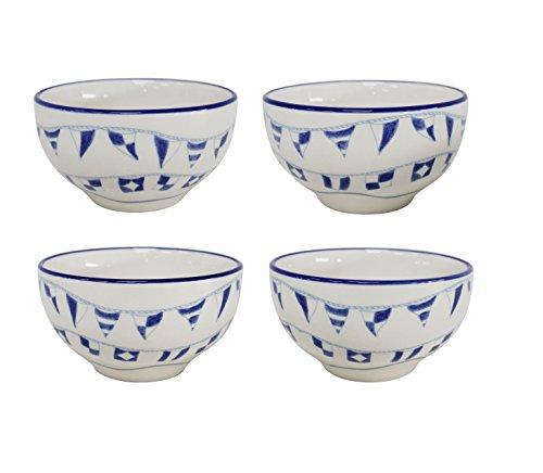Euro Ceramica Ahoy Collection Nautical 56 Ceramic SoupCereal Bowls 22oz Set of 4 Blue White