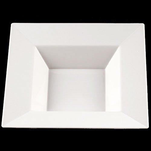 Exquisite 85 Inch12oz White Deep Square Premium Plastic SoupSalad Bowls - 40 Count - China Like