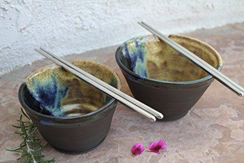 Black Clay Soup Bowl set handmade ceramic serving dish