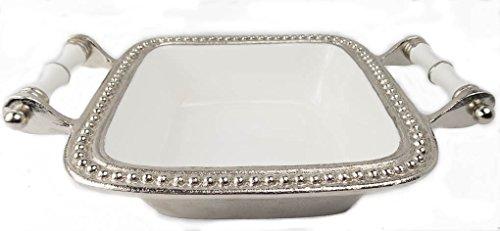 White Enamel Square Serving bowl with Handles Bead edge Split P 1125