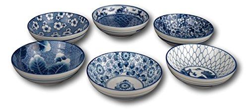 Set of 6 Ceramic Porcelain Bowls Rice Bowls Cereal Bowl Dessert Bowl Serving Bowls Soup Bowls Fruit Bowls Bowl Set Japanese with Free 6 Blue and White Porcelain Spoons