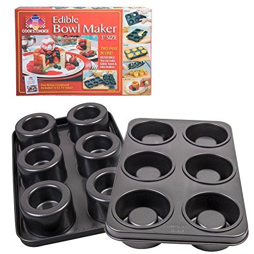 The Original Better Baker Edible Food Bowl Maker- Bake 6 Three Inch Dessert Dinner Bowls or Mini Muffins