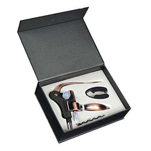 Rabbit Wine OpenerOriginal Lever Corkscrew With Foil Cutter and Accessory Gift Set Black