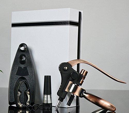 Aonesy Wine Bottle Opener 8 Pcs Rabbit Corkscrew Manual Wine Opener Set- Zinc Alloy Handle Corkscrew with StandStoppersFoil CutterExtra Spiral Bottle Bags-Unique Kit For Xmas
