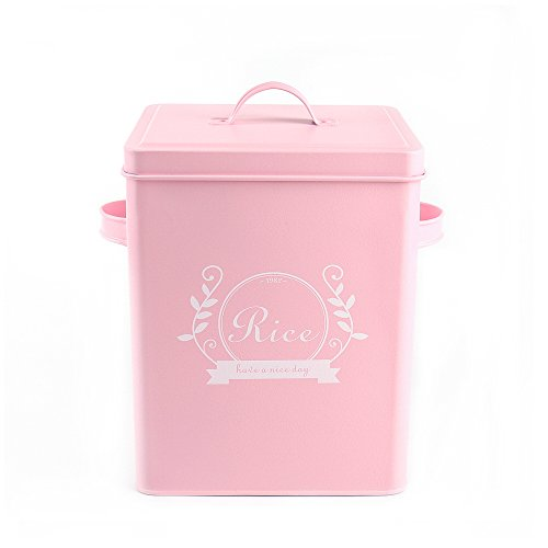 Hot Sale H102 Square Metal FoodFlourSundries Kitchen Storage Tin CanisterBucketContainers with Lid And Scoop pink