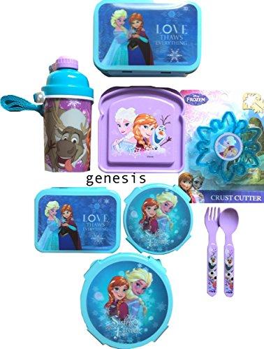 Disney Frozen 9Pc Childrens Lunch Gift Set With Snack Food Storages Bottle Crust Cutter Utensils
