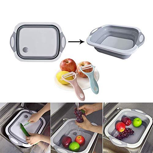 Aibeide Kitchen Multifunction Collapsible Cutting Board Dish Tub 2 ceramic peelersDrain Basket Vegetable Basin,Portable 3 In 1 Food Grade Silica gel Veggies Fruits Storage Basket Grey