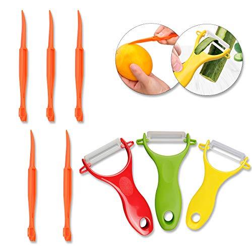 Fruit Peeler- 3 Pcs Ceramic Peeler  5 Pcs Plastic Citrus Peeler Vegetable Orange Peeler Knife