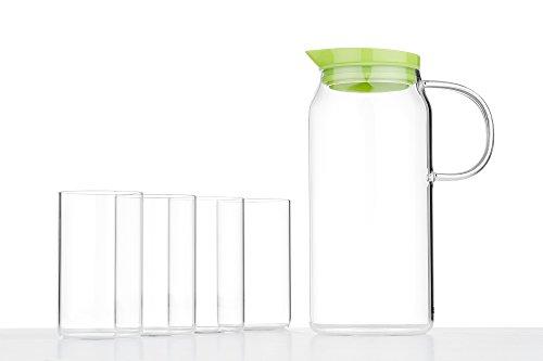 Glass Tea Set Carafe Pitcher Glasses For Four 5 pcs Cold Beverages Modern Teaware transparent bright green