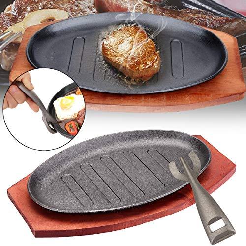 Iron Plate Sevenmore 3 Sizes Cast Iron Steak Fajita Sizzling Platter Plate BBQ Grill Pan Cooking Wooden Holder
