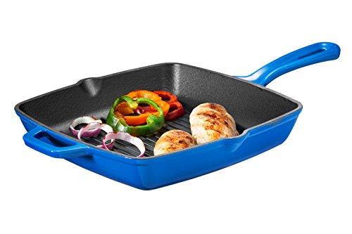 Bruntmor Enameled Cast Iron Square Grill Pan 10-Inch Cobalt Blue