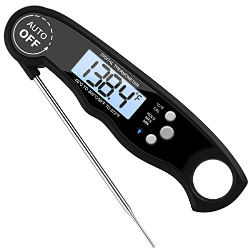 AMIR Digital Meat Thermometer Waterproof Instant Read Cooking Thermometer Electronic Food Thermometer with Probe Calibration for Kitchen BBQ Poultry Grill Fast Auto On Off Battery Included