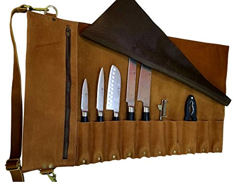 Lightweight premium Leather Chef Knife BagChef Knife Roll 10 Pockets Tan Leather