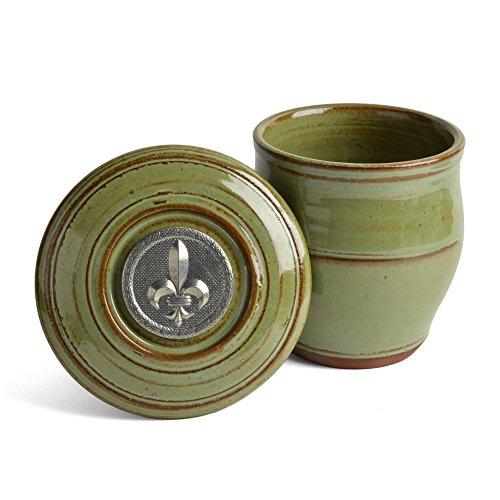 Oregon Stoneware Studio Fleur de Lys French Butter Crock Pistachio