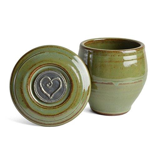Oregon Stoneware Studio Heart French Butter Crock Pistachio