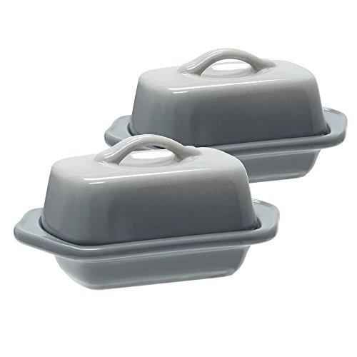Chantal Fade Grey Ceramic 5 Inch Mini Butter Dish Set of 2