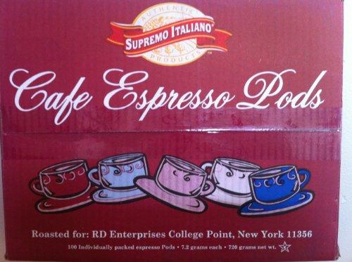 Cafe Espresso Pods 100 Individually Packed Espresso Pods