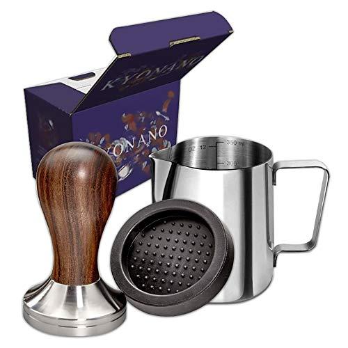 KYONANO New Wood Espresso Tamper 58mm Coffee Tamper with Dalbergia Odorifera Handle Incl Free Milk Frothing Pitcher 12oz350ml Espresso Tamper Mat