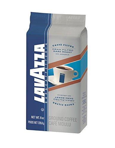 Lavazza Gran Filtro Ground Coffee Blend Dark Roast 8-Ounce Bricks Pack of 5