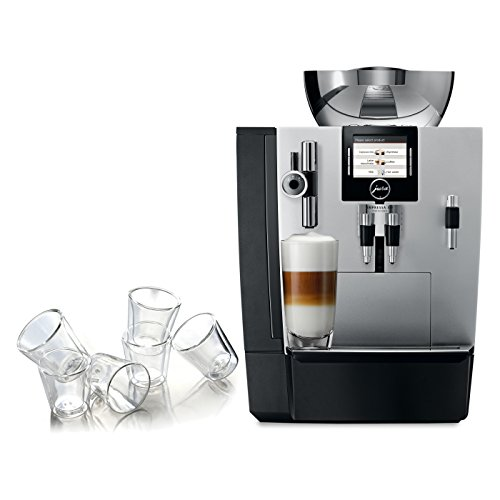 Jura Silver Impressa XJ9 Professional One-Touch Combination Espresso Machine with 6 Bodum Canteen Double Wall Espresso Glasses