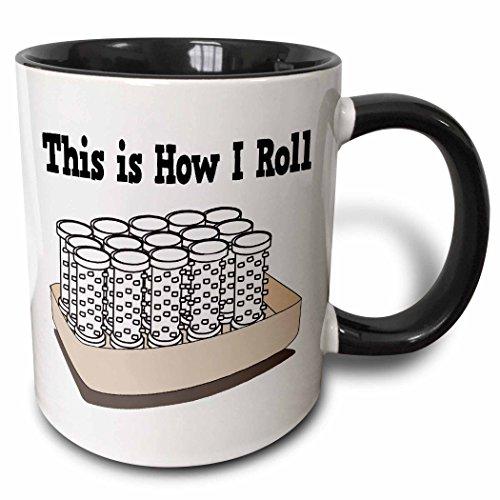 3dRose 102533_4 How I Roll Hair Curlers Beautician Design Two Tone Mug 11 oz BlackWhite