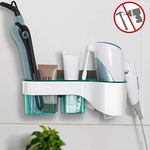 VIEFIN Adhesive Hair Dryer Holder Wall MountNo Drilling Hair Dryer&Styling Tools Organizer StorageBlow Dryer Hair Curler Brush Cleanser RackLarge Blue