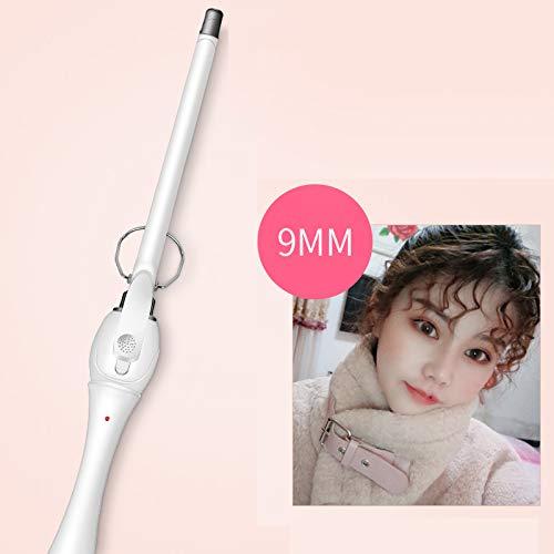 YL Small Hair Curler Wand Straight Hair Curls Dual Use Curling Iron Unisex Wool Curls Short Hair 9mm White
